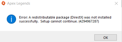 Error: A redistributable package (DirectX) was not installed